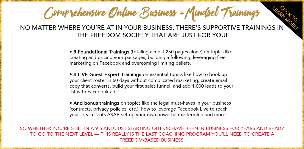 Comprehensive Online Business + Mindset Trainings